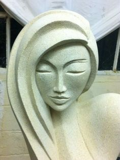 Hand carved marble/ mineral stone Abstract Contemporary or Modern Outdoor Outside Exterior Garden / Yard sculpture statuary sculpture by sculptor Jo Ansell titled: 'Secret Woman 11 (Peace and Gentle Semi abstract nude sculpture)'