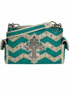 Turquoise and Beige Chevron Cross Shoulder Bag