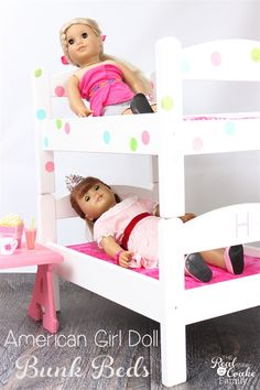 OMG! These are the cutest American Girl Doll Bunk Beds! They are a diy using IKEA doll beds which makes them inexpensive and easy to customize. So cute! #RealCoake #AGDoll #DIY #IKEA #AmericanGirlDoll #Crafts #DollFurniture #IKEAHack