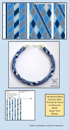 18 around bead crochet rope pattern and a photo showing what the completed neckl..., #around #completed #crochet #neckl #pattern #photo #showing