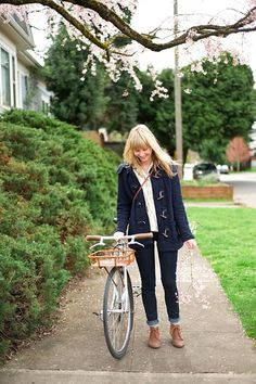 Love the boots & the jeans! So cute for fall. I wouldn't mind a sweet bike like that, either. ;)