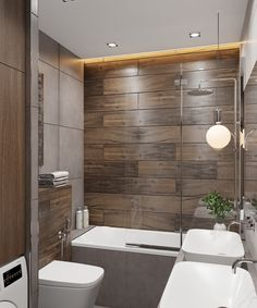 Photo Bathroom Feature Wall, Wardrobe Room, Purple Kitchen, Big Bathrooms, Contemporary Bathrooms, Bathroom Interior, Sweet Home, New Homes, House Design