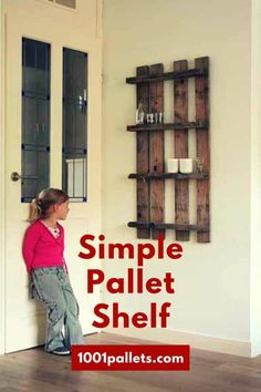 Pallet Shelves Projects Simple Pallet Shelf - Love this pallet turned into a shelf, simply simple! Diy Wood Pallet, Wooden Pallet Shelves, Wooden Pallet Furniture, Diy Pallet Projects, Wooden Pallets, Pallet Ideas, Wood Shelf, Wood Projects, Pallet Cabinet