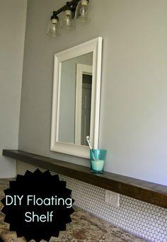 Penny tile backsplash and floating shelf- love it