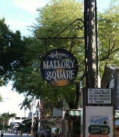 Mallory Square, 300 Duval St. A ritual on Key West: everyday at dusk visitors gather at this seaside spot to watch the spectacular sunset and enjoy lively street performances.
