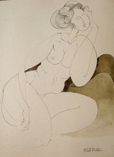 Nude Woman - Original Watercolor and drawing - Serena - Woman portrait - Painting - One of a kind. on Etsy, $38.00