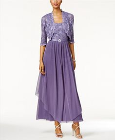 77.39$ Buy now - http://viaqp.justgood.pw/vig/item.php?t=5msq9414318 - R&M Richards Sequined Lace Belted Gown and Jacket Lavender Size 10 $129