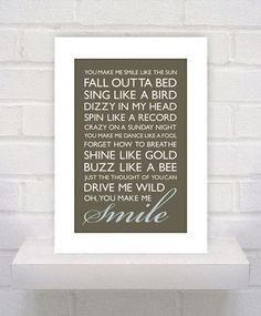 Smile Lyrics  - 11x17 - Custom - Gift / Best Friend / Boyfriend / Girlfriend Print. $10.00, via Etsy.