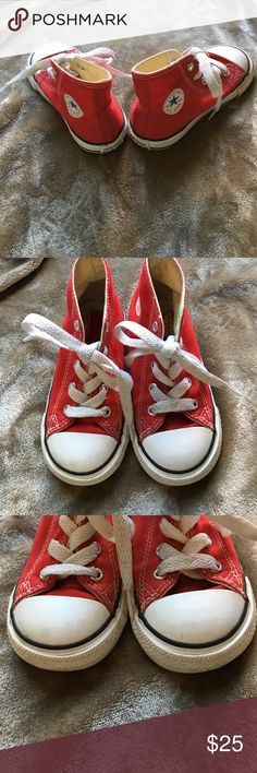 Converse shoes for kids Red  super cute converse for boys or girls size 8 not sure what in girls size maybe seven but they're super cute slightly worn great price Converse Shoes Sneakers