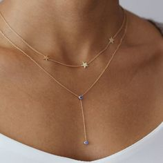 Visibly Interesting: Stunningly minimalist Blue Sapphire lariat necklace in 14k Gold adds color and sophistication