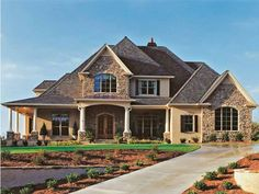 house plans... a website you can pick # of bedrooms, baths, half baths, garage bays, etc. WRAP AROUND FRONT PORCH