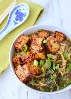 Vegan Ramen Soup! Flavorful miso broth with hoisin tofu and fresh ramen noodles. | www.delishknowledge.com #recipe