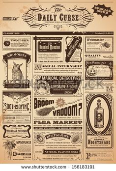 Halloween newspaper with magical classifieds - Either use as it is or replace headpiece and one ad by e.g. an invitation text. by AKaiser, v...