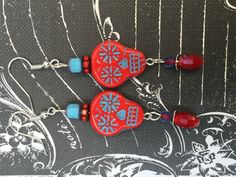 Red Sugar Skull Earrings
