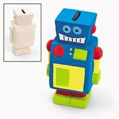 Robot Party Supplies, Robot Ceramic Banks, Paint Your Own