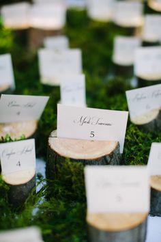 wood escort card holder ideas http://www.weddingchicks.com/2013/09/23/romantic-woodland-wedding/