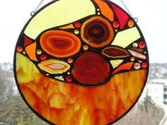 Stained Glass Panel - Round with Red-Orange Agate - Abstract - OOAK - Handcrafted - Made in USA