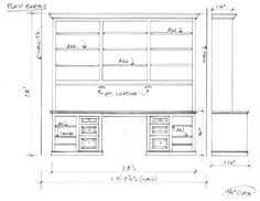 Shop drawing for built-in desk bookcases for Andrew Meade. Bookshelf Desk, Bookshelves Built In, Built In Desk, Built In Cabinets, Custom Cabinets, Office Plan, Study Office, Office Ideas, Office Built Ins