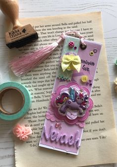 A personal favourite from my Etsy shop https://www.etsy.com/uk/listing/560897869/unicorn-bookmark-personalised-gift-thank