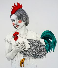 Gada Fine Art Print by Sofia Bonati. Authentic giclee print artwork on paper or canvas. Wall Art purchases directly support the artist. Artwork Prints, Fine Art Prints, Poster Prints, Canvas Prints, Art And Illustration, Rooster Illustration, Sofia Bonati, Arte Popular, Art Moderne