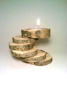 Candle Holder, Rustic Candle Holder, Tealight Candle Holder, Olive, Unique, OOAK. $25.00, via Etsy.