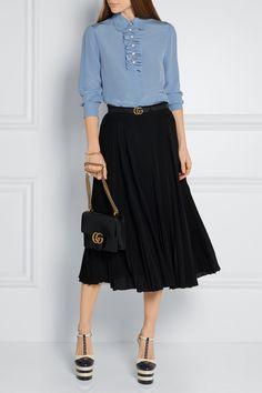 Gucci | Faux pearl-embellished ruffle-trimed silk crepe de chine blouse | NET-A-PORTER.COM