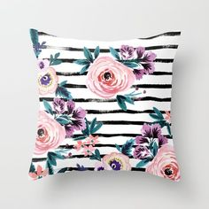 Victorian flowers painted in watercolor and tossed on a stripe. Feminine and romantic in style and pastels that are in contrast with dramatic colors including blush pink, deep teal, peach pink, orchid purple, royal blue and plum.
