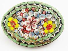 Vintage Micro Mosaic Italian Floral Oval Brooch