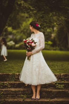 Bride in Short Tea Length Dress - Village Hall Wedding With A Picnic Style Meal Bride Wears 50s Style Wedding Dress With Images by Matt Penberthy Photography