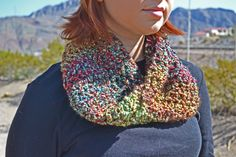 Multi Colored Infinity Scarf/Neck Warmer/ Cowl. $25.00, via Etsy.
