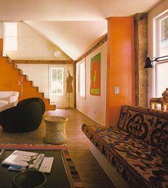 1970s bohemian living room vintage