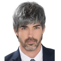 Natural Men'S Wigs Short Straight Synthetic Wigs For Men Heat Resistant Fake Hair Black Grey Handsome Fake Hair Middle Age Cosplay Daily Wig Dark Ash Blonde, Golden Blonde Highlights, Blonde Guys, Natural Man, Beautiful Men Faces, Medium Long, Male Face, Synthetic Wigs, Hairline