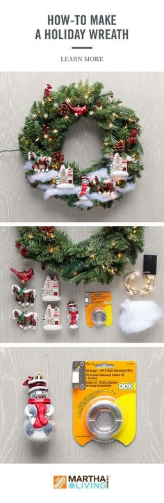 Get your home ready for holiday guests with this DIY project using the Martha Stewart Living holiday collection, available exclusive at The Home Depot. Learn how to create a festive wreath for the holidays in 3 easy steps! Noel Christmas, Homemade Christmas, Simple Christmas, All Things Christmas, Christmas Ornaments, Christmas Music, Rustic Christmas, Beautiful Christmas, Wreath Crafts