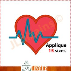 Heart with heartbeat applique design. Machine embroidery design - INSTANT DOWNLOAD - 15 sizes. Heartbeat applique design. Heart embroidery. by JLdizains on Etsy