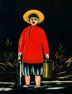 Fisherman in a Red Shirt - Niko Pirosmani, 1908 State Art Museum of Georgia Kandinsky, Georgie, Art Database, Naive Art, Russian Art, Red Shirt, State Art, Black Art, Art Museum