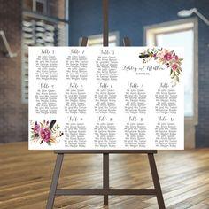 Wedding seating chart printable Boho guests list printable