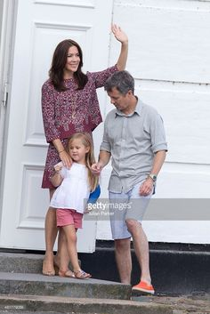 Crown Prince Frederik  and Crown Princess Mary of Denmark,with Princess Josephine,  view The Guard Change At Grasten Castle on July 24, 2015 in Grasten, Denmark.  (Photo by Julian Parker/UK Press via Getty Images)