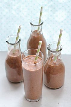 Dark Chocolate, Peanut Butter and Banana Smoothie  -  To incorporate more fruits and veggies in your diet  add this very easy and practical smoothie.