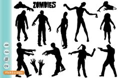 Zombie ClipArt Silhouettes