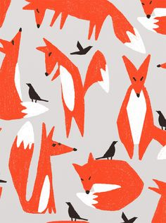 Ophelia Pang: colors and forms Fox Illustration, Illustrations, Fox Pattern, Pattern Art, Textile Patterns, Print Patterns, Textiles, Fox Tattoo Design, Inuit Art