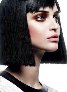 Celia Becker.  Black blunt bob hair style. Short hair. Clean cut