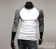 Free Shipping! Fashion Brand Mens Clothing Long Sleeve T shirt Baseball Sport Casual Men TShirt O-neck Contrast-Color Undershirt