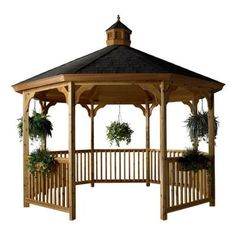 Wood Octagon Gazebo with Hanging Flower Pots