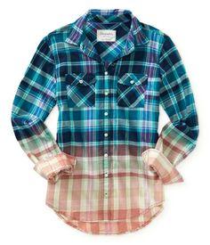 Long Sleeve Dip-Dye Plaid Woven Shirt - Aéropostale®