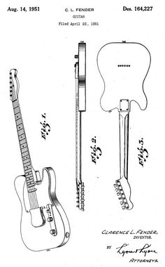 Leo Fender patents his solid body guitar (to later become the Telecaster)