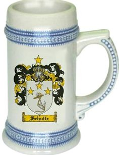 Schultz Coat of Arms / Family Crest stein mug |  $21.99 at www.4crests.com - This stein starts with the family coat of arms hand drawn digitally. We then use a high quality 22 oz. ceramic stein to apply the coat of arms to via sublimation.