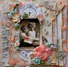 Find Your Wings Premade Scrapbook Page 12 x 12 Vintage, Shabby Chic,  Wedding, Art, Layout, Prima, Music Note