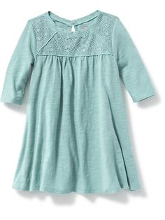Lace-Yoke Swing Dress for Toddler (Size 2T).