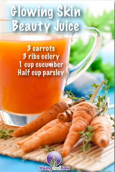 Carrots and cucumber are a super-powered up duo. They support the kidneys in flushing out excess uric acid (known to cause kidney stones), support the kidneys in flushing out excess toxins as well as load your body up with a mega dose of nutrients.  The kidneys filter your blood, so if they're taxed or unable to function at full capacity, this can show up in the form of skin issues like eczema or acne breakouts.