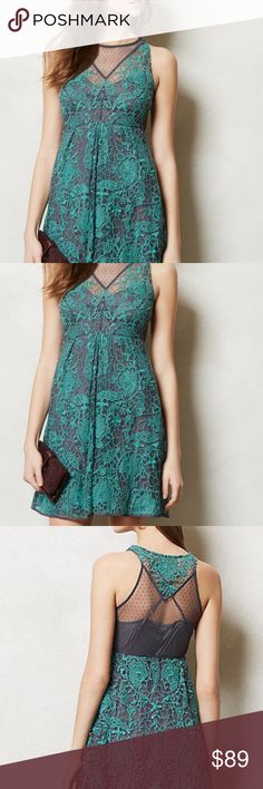 """Yoana Baraschi At Dusk Lace Arabesque Dress Stunning cocktail dress. Teal and Gray from Anthropologie. Gray slip dress attached to lace overlay. Side zip. Nylon; viscose lining. Regular: 36""""L. Minor wear. No imperfections. pit to pit is 18"""" waist is 28"""" around Anthropologie Dresses"""